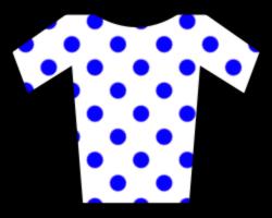 Белая майка в синий горошек-майка лучшего горного гонщика в гонке Вуэльта