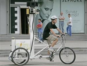 Проект Google Street View и велосипед. Велосипед работает в Google.