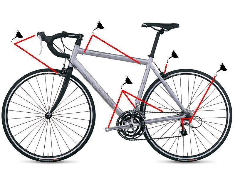 Схема профилактической смазки велосипеда, точки смазки велосипеда.