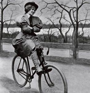 Женщины на велосипеде в Викторианскую эпоху.