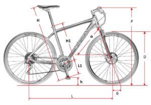 Основные размеры велосипеда.