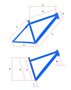 Основные размеры рамы велосипеда.